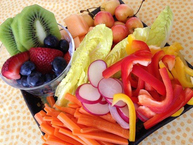 vegetables on platter board